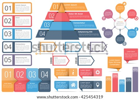 Set of infographic elements - objects with text numbers and icons, timeline, circle diagram, pyramid, bar graph, vector eps10 illustration - stock vector