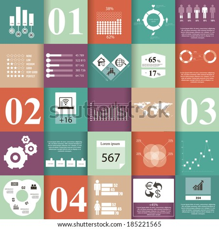 Set of infographic elements, which can be useful at any work. Infographics includes 13 icons, 1 world map, 6 text sections, 6 different kinds of diagrams,  8 infographic elements for data in numbers. - stock vector