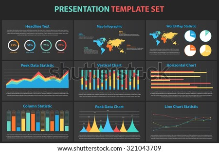 Set of infographic Presentation Template, infographic statistics,elements,charts,business flyer,prototype,layout,corporate commercial data,marketing,design - stock vector