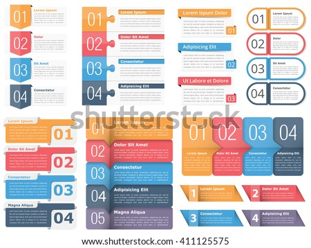 Set of infographic templates with numbers and text, business infographics elements set, workflow, process, steps or options, vector eps10 illustration - stock vector