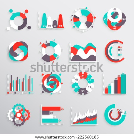 Set of  infographics charts and diagrams for your design. Vector illustration - stock vector