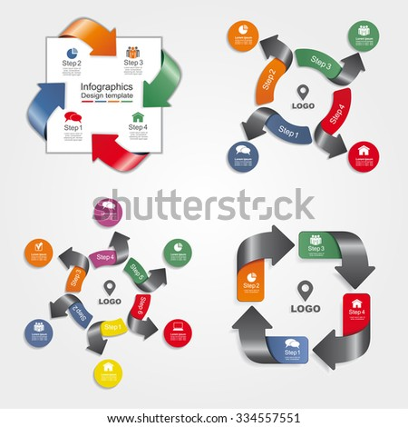 Set of infographics design templates with place for your data. Vector illustration. - stock vector