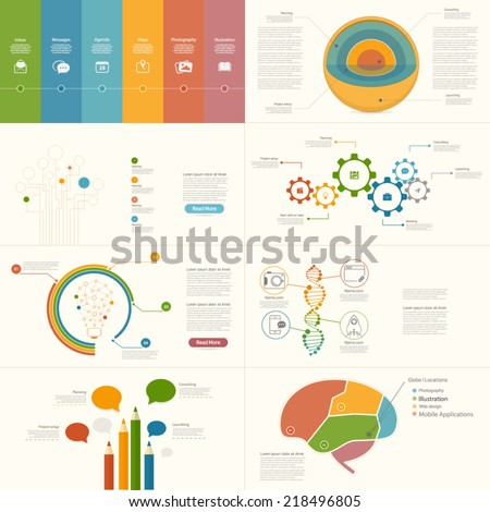 Set of infographics elements for presentation templates. - stock vector