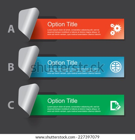 Set of infographics elements in the form of paper tapes and other flat shapes. For various purposes. Vector illustration on the dark gray background