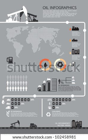 Set of infographics elements, Oil icons ,vector - stock vector