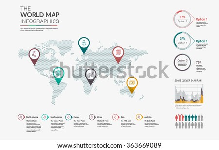 Set of infographics elements - world map, pointers and diagrams templates. Vector illustration. - stock vector