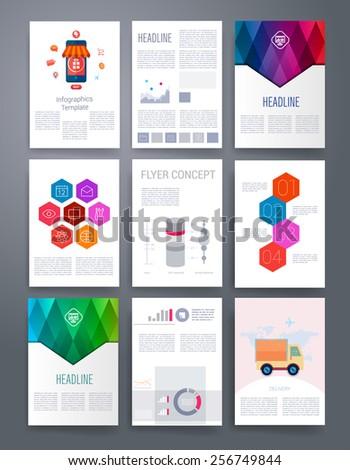 Set Infographics Flyer Brochure Designs Vector Stock Vector - Brochure designs templates
