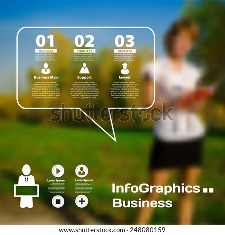 Set of infographics on blurred photographic background of the business - stock vector
