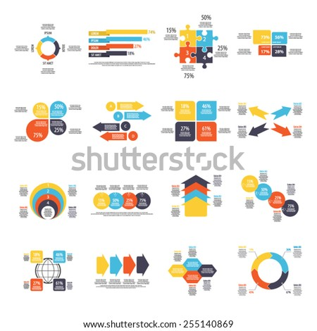 Set of 16 infographics templates - Eps 10 vector - Fully and easy editable - stock vector