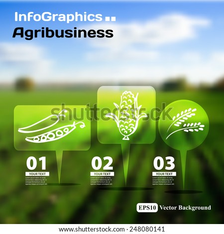 Set of infographics with blurry photographic background on the topic of agriculture - stock vector
