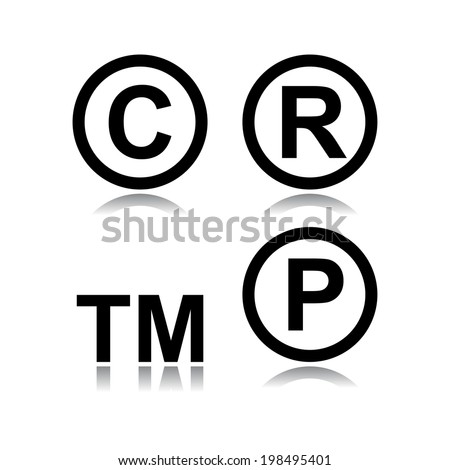 Set of infringement symbols in white background  - stock vector