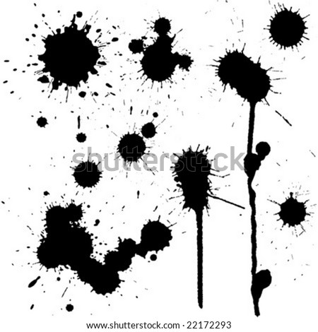 Set of ink blots in black and white - stock vector