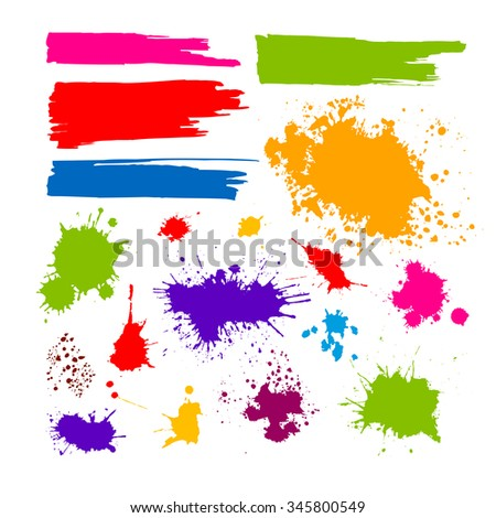 Set of ink blots. Vector - stock vector