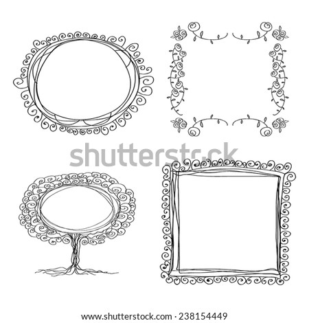 Set of 4 ink frames. 4 flourish and curly frames. Line art. Graphic borders.Tree, roses,spiral. Black on white background.Vector illustration - stock vector. Vintage hand drawing frames. - stock vector