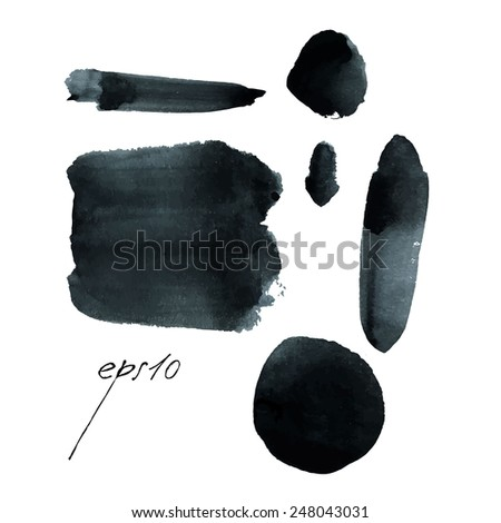 Set of ink smears. Black ink in vector style. Watercolor painting. - stock vector