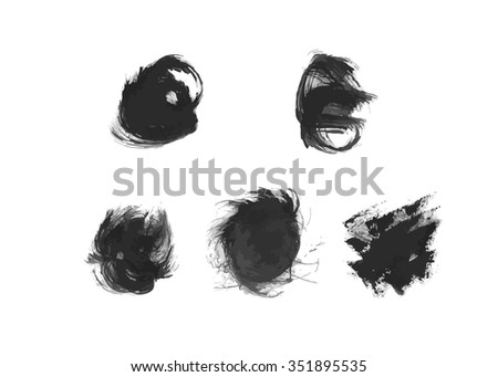 Set of ink vector hand drawn dots and splashes.
