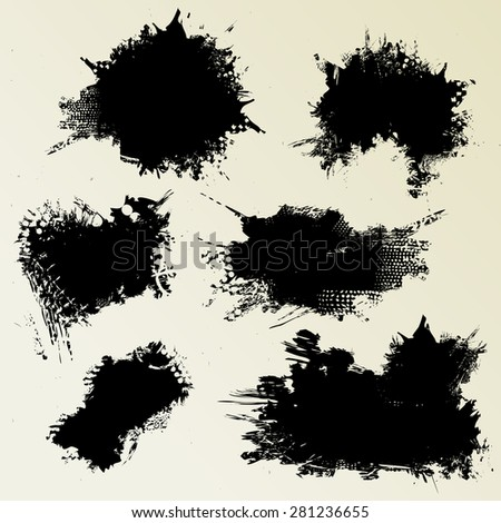 Set of inky stains - stock vector