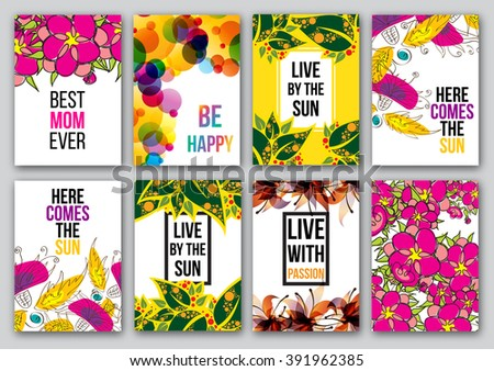 Set of inspirational posters. Quotes typographical posters, vector design. Motivational quotes for inspirational art.