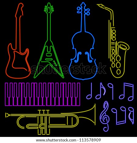 Set of instruments and notes in neon sign style - stock vector
