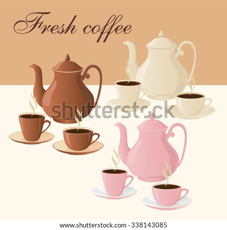 Set of insulated coffee pots and cups of coffee. - stock vector
