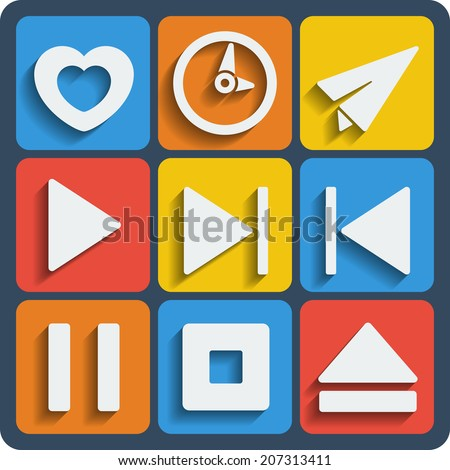 Set of 9 interface vector web and mobile icons in flat design. - stock vector