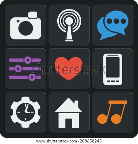 Set of 9 interface vector web and mobile icons in flat design. Home, heart, like, wifi, photo, phone, clock, music. - stock vector