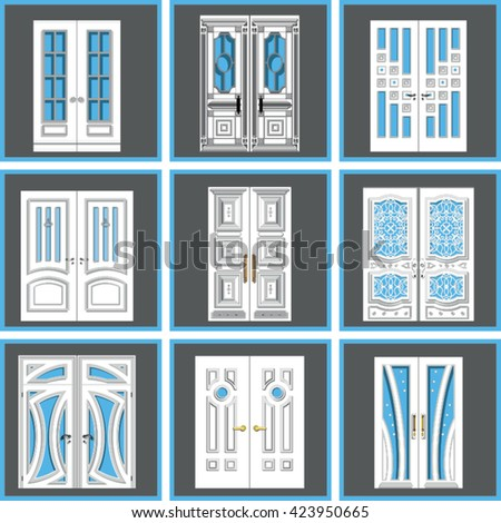 gray interior doors set vintage double interior door isolated stock vector 474872899