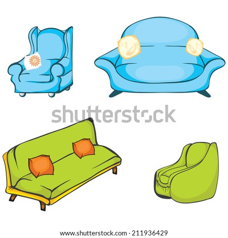 set of interior furniture: armchairs,  sofas and pillows - stock vector