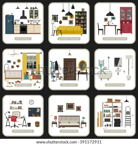 Set of interior rooms on white backgrounds. Vector flat illustrations of bathroom, living room, kitchen, etc. - stock vector