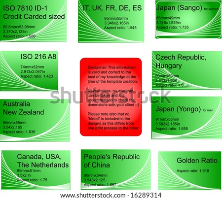 set 8 international business card templates stock vector royalty