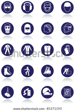 Set of international communication signs for workplaces. All vector objects and details are isolated and grouped. Colors, reflection and transparent background color are easy to remove or customize. - stock vector