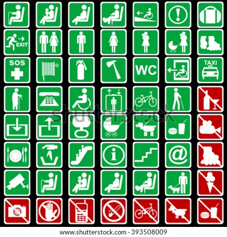 Set of international signs used in transportation meanings - stock vector