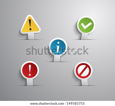 Set of internet notification labels / icons for websites or business design with paper style design. clean and modern, vector eps 10 illustration. Warning, access, problem, ok, advice, error, alert - stock vector