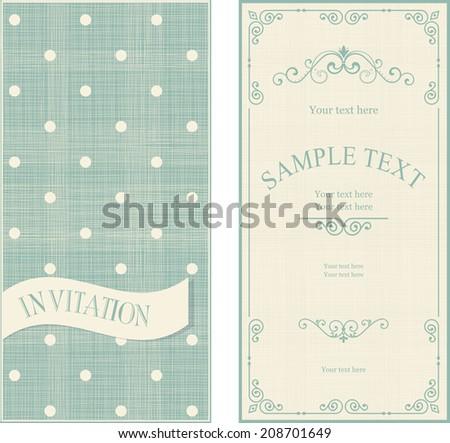 set of invitation cards on vintage polka dots background - stock vector