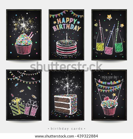 Vetor stock de set invitation cards birthday party cake livre de set of invitation cards to the birthday party with a cake soda sparklers and stopboris Choice Image