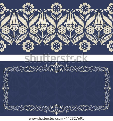 Set of invitation cards with turkish pattern in dark blue and gold colors - stock vector