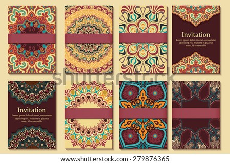 Set of invitations, cards with ethnic arabesque elements. Arabesque style design. Business cards. eps10 - stock vector