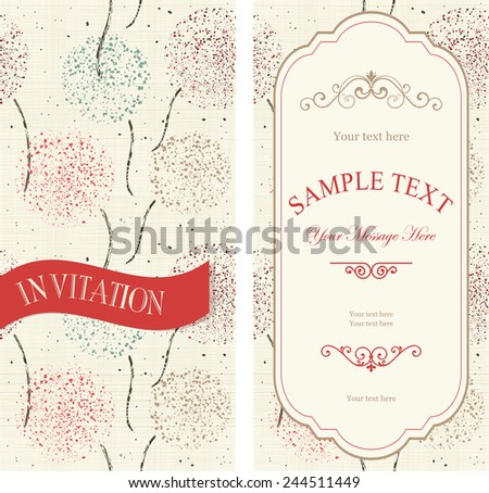 set of invitations with colorful abstract pattern on texture background  - stock vector