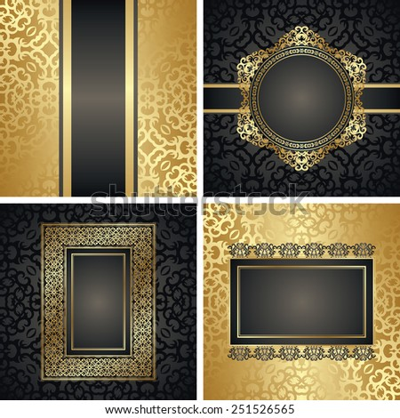 Set of invitations with vintage decoration. Decorative frames. All cards have seamless background. Original design                           - stock vector