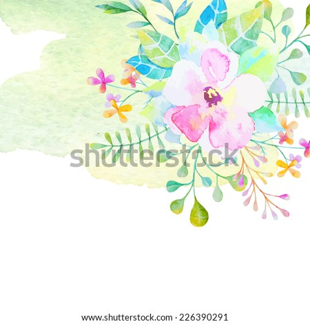 Set of invitations with watercolor elements - stock vector