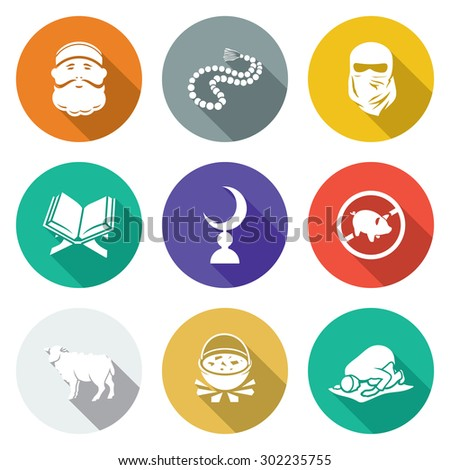 Set of Islamic Icons Set. Vector Illustration. Isolated Flat Icons collection on a color background for design - stock vector