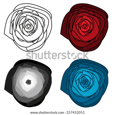 Set of 4 isolated abstract roses - red, blue, shades of grey and one outline - stock vector