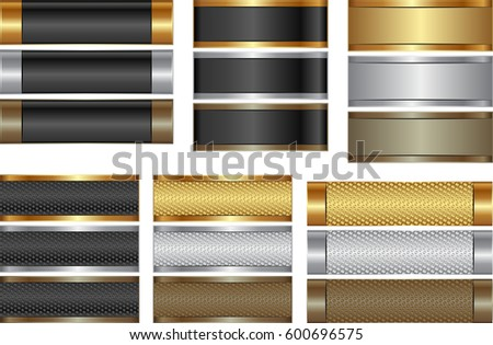 set of isolated banners  golden, silver and brown