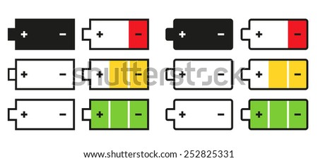 Set of 12 isolated battery icons - colorful and black and white - stock vector