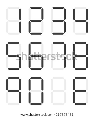 Set of isolated black digital numbers - 0 - 9 and E for Error - stock vector