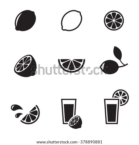 Set of isolated black icons on a theme lemon lime - stock vector