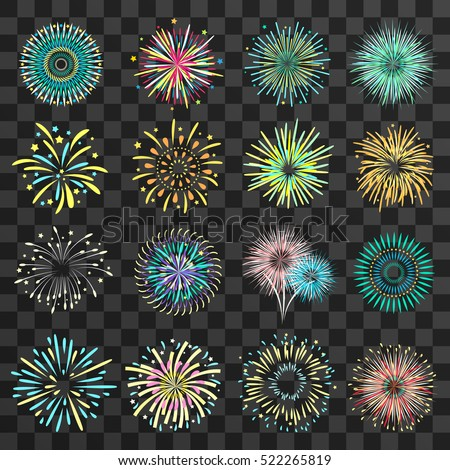 Set of isolated brightly celebration firework balls on dark transparent background flat vector illustration