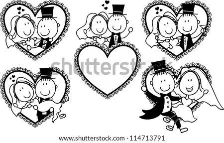 set of isolated cartoon couple in heart shape frame, ideal for funny wedding invitation - stock vector