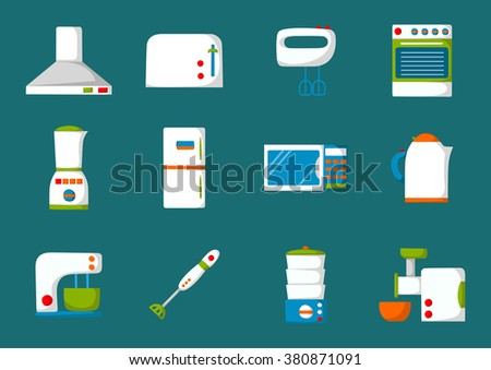 Set of isolated cartoon kitchen appliances. Flat icons. Kitchen domestic electric equipment