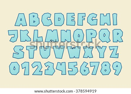 set of isolated cartoon style, funny alphabet letters and numbers. vector, kids font type design. comic book lettering typeface - stock vector